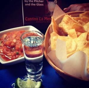 Fresh salsa and totopos at La Cantina Mexicana